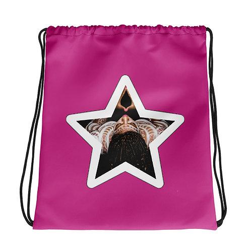 Hot Pink Afrikan Superstar Drawstring bag