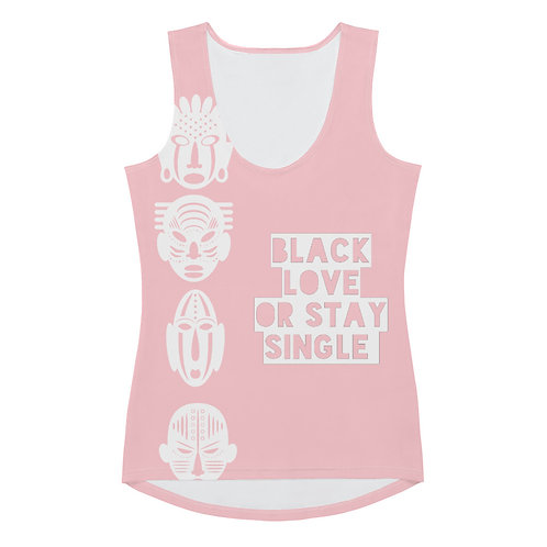 "Light Pink Quad Mask ""Black Love or Stay Single"" Sublimation Cut & Sew Tank Top"