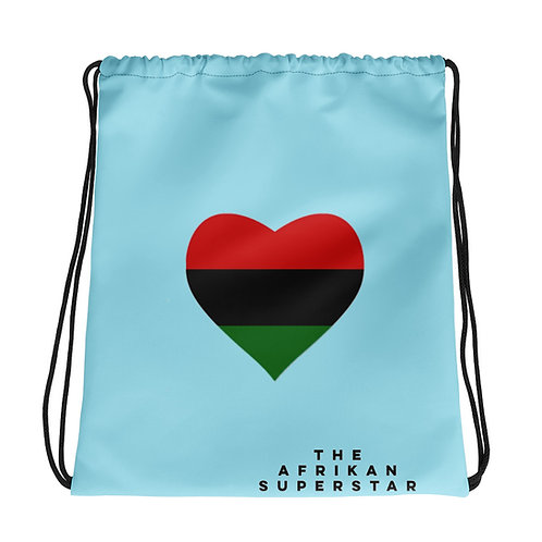 Blue Pan African Love Drawstring bag