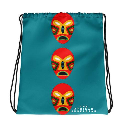 Blue Flame Mask Drawstring bag