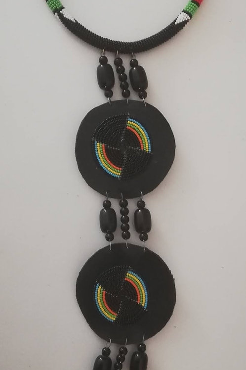 Black Glamour Triple Disc Leather Statement Necklace