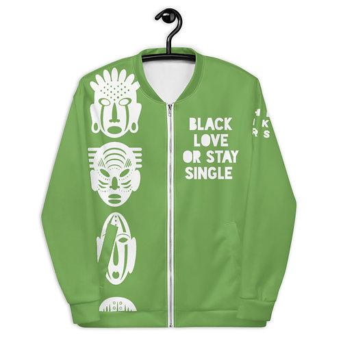 "Green Quad Mask ""Black Love or Stay Single"" Unisex Bomber Jacket"