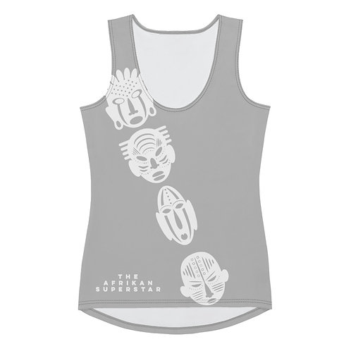 Grey Ivory Cross Mask Sublimation Cut & Sew Tank Top