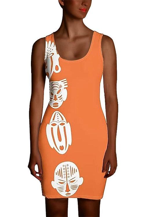 Orange Ivory Mask Sublimation Cut & Sew Dress