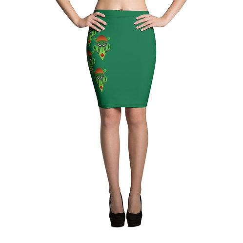 Women's Green Mask Pencil Skirt