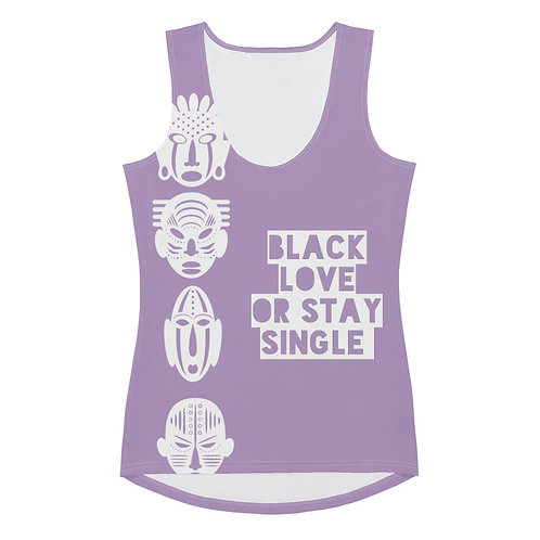 """Lavender Quad Mask """"Black Love or Stay Single"""" Sublimation Cut & Sew Tank Top"""