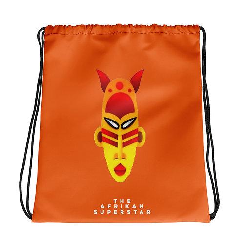 Orange Fire Mask Drawstring bag