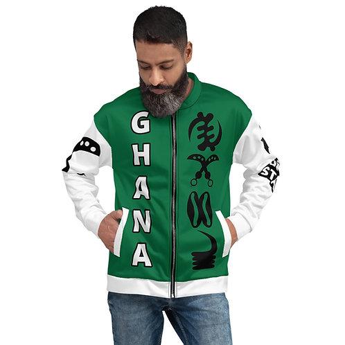 Afrikansuperstar X Ghana Green/White Varsity Adinkra Bomber Jacket