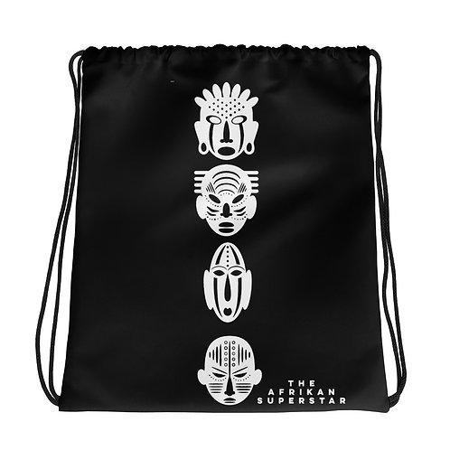 Black Ivory Quad Mask Drawstring bag