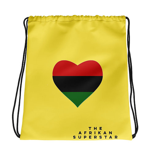 Yellow Pan African Love Drawstring bag