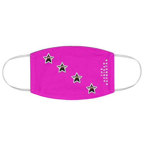 Pink Diagonal Afrikansuperstar logo Fabric Face Mask