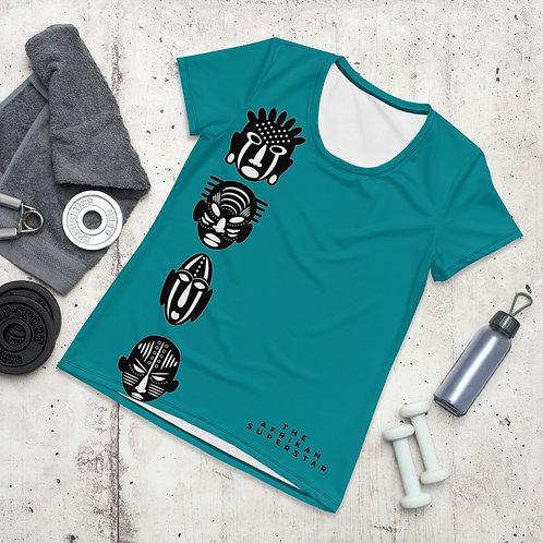 Blue Quad Mask Women's Athletic T-shirt