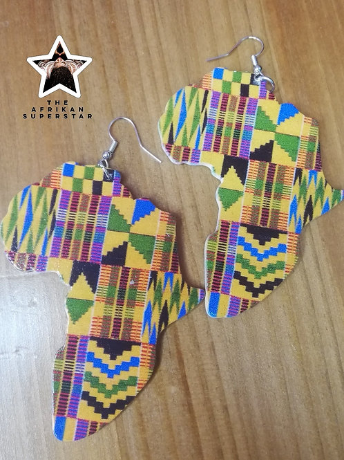 Glossy Wooden Kente Africa Shape Earrings
