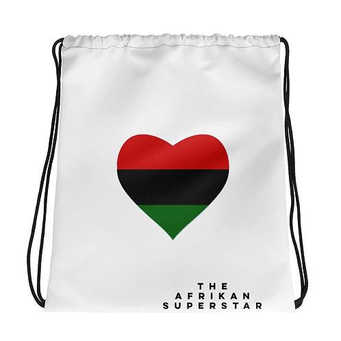 White Pan African Love Drawstring bag