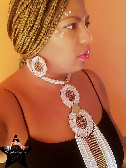 "Dazzling ""Kenyan Glow""Double Disc Statement Necklace & Earring Set"