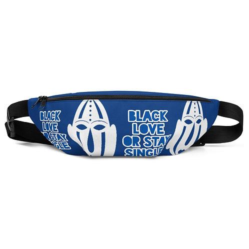 """Designer Royal Blue Mask """"Black Love or Stay Single""""Fanny Pack"""