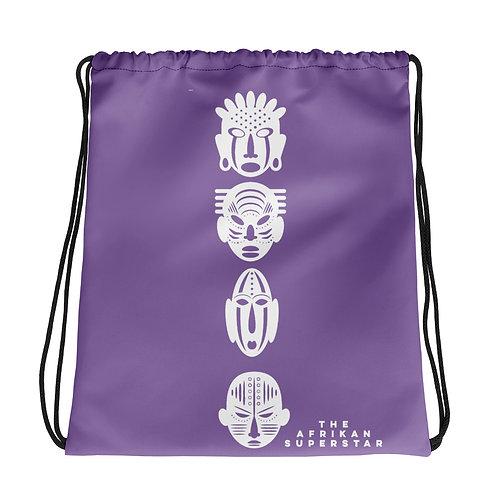 Purple Ivory Quad Mask Drawstring bag