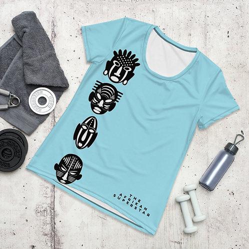 Light Blue Quad Mask Women's Athletic T-shirt
