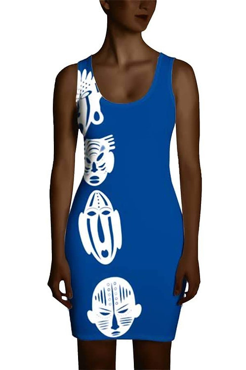 Royal Blue Ivory Quad Mask Sublimation Cut & Sew Dress