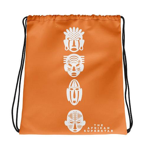 Orange Ivory Quad Mask Drawstring bag