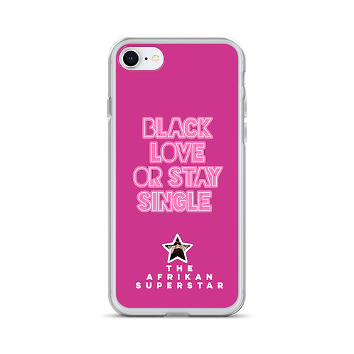 "Designer Pink ""Black Love or Stay Single"" Liquid Glitter Phone Case"