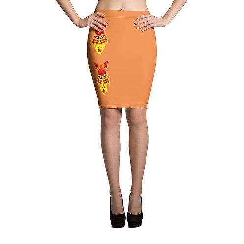 Women's Orange Fire Mask Pencil Skirt