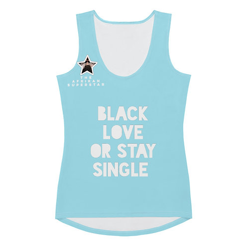 """Women'sBlue Quad Mask """"Black Love or Stay Single"""" Sublimation Tank Top"""