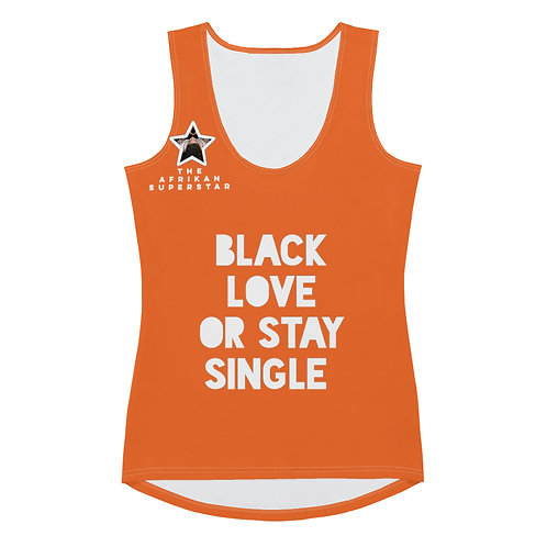 "Women's Orange ""Black Love or Stay Single"" Sublimation Cut & Sew Tank Top"