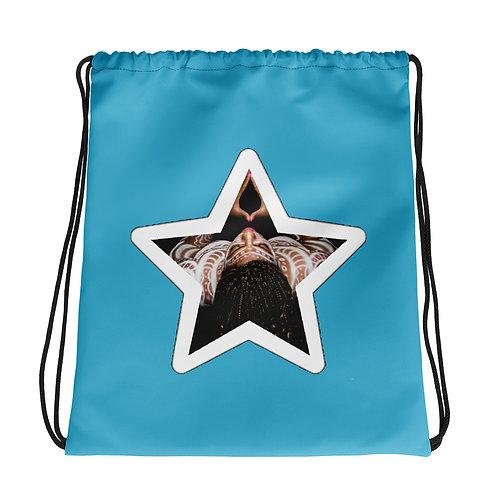 Blue Afrikan Superstar Drawstring bag