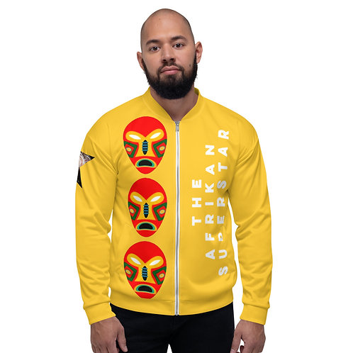 Yellow Flame Mask Unisex Bomber Jacket