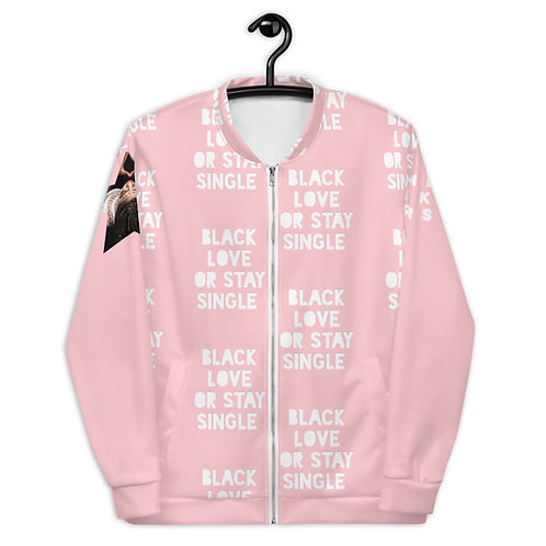 "Pink patterned ""Black Love or Stay Single"" Unisex Bomber Jacket"
