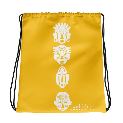 Yellow Ivory Quad Mask Drawstring bag