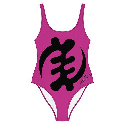 Pink Gye Nyame Adinkra One-Piece Swimsuit