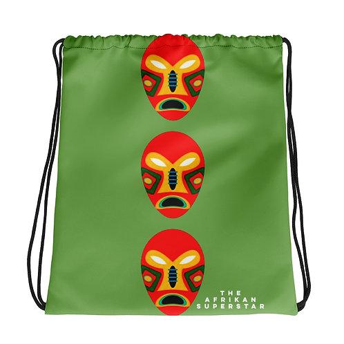 Green Flame Mask Drawstring bag