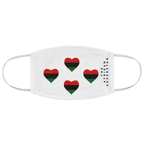 Quad White Pan African Love Fabric Face Mask