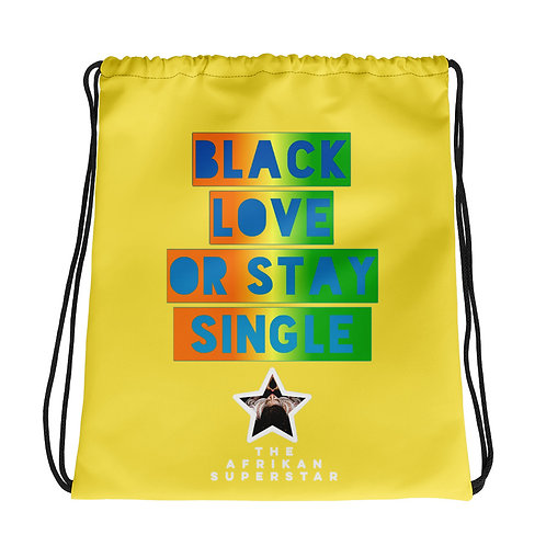 "Yellow Multi ""Black Love or Stay Single""Drawstring bag"