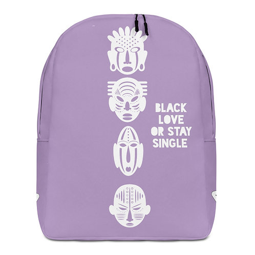 "Light Purple Quad Mask ""Black Love or Stay Single""Minimalist Backpack"