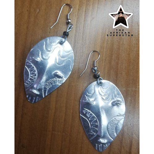 Lustrous Hammered Silver Mask Earrings