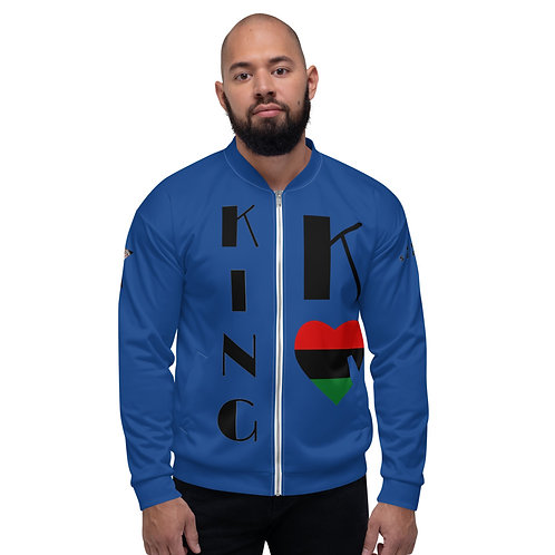 Blue Pan African King Unisex Bomber Jacket
