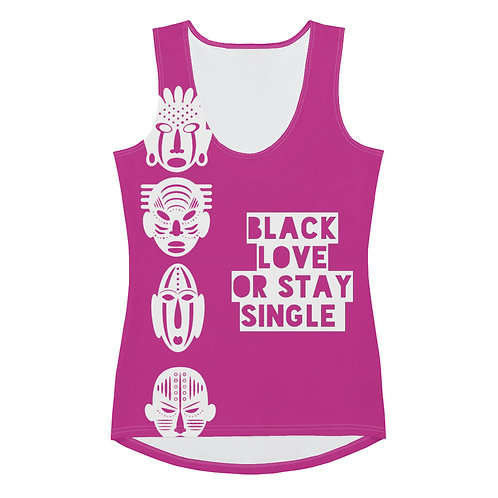 """Hot Pink Quad Mask """"Black Love or Stay Single"""" Sublimation Cut & Sew Tank Top"""