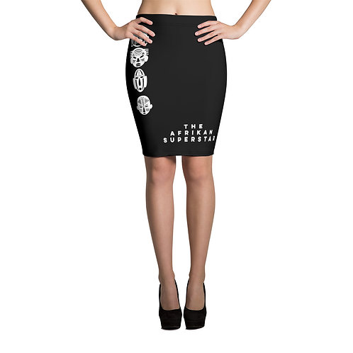 Women's Black Quad Mask Pencil Skirt