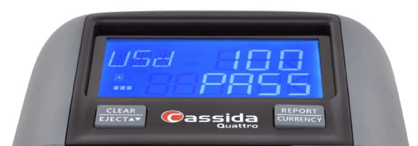 Cassida counterfeit detector with high resolution LCD screen.