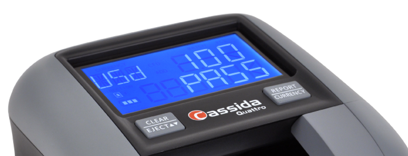 Cassida counterfeit detector with a display that also shows denomination.