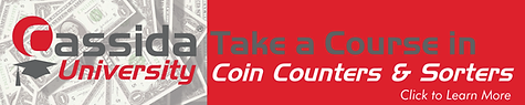 Learn more about coin counters and sorters in Cassida University.