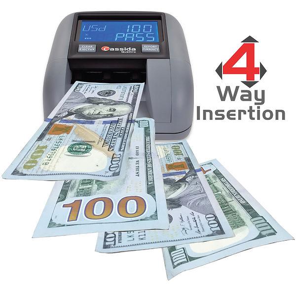 Cassida Quattro with 4-way counterfeit verification of paper money.