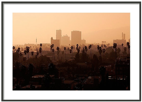 Late Afternoon Over Hollywood Framed