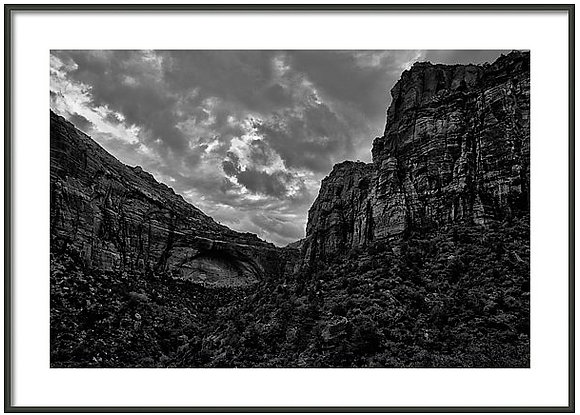 Zion Canyon In Monochrome Framed