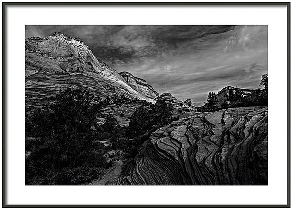 Zion Rocks In Monochrome Framed