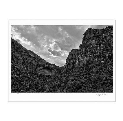 Zion Canyon In Monochrome Print