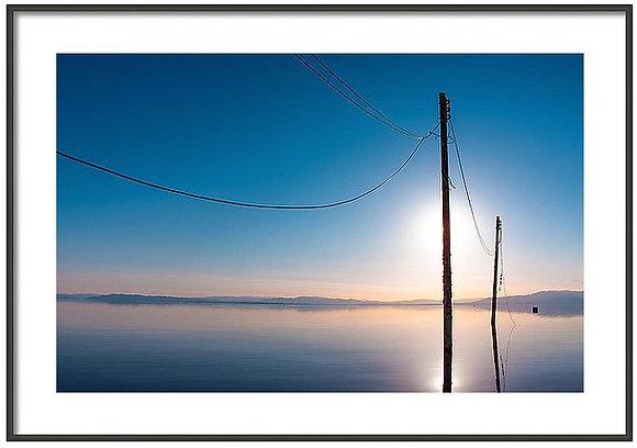 Abandon Power Lines At Salton Sea Framed